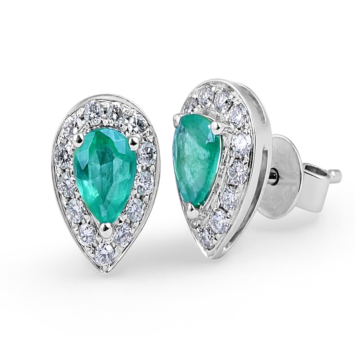 Emerald Diamond Halo Stud Earrings in 18 Karat White Gold