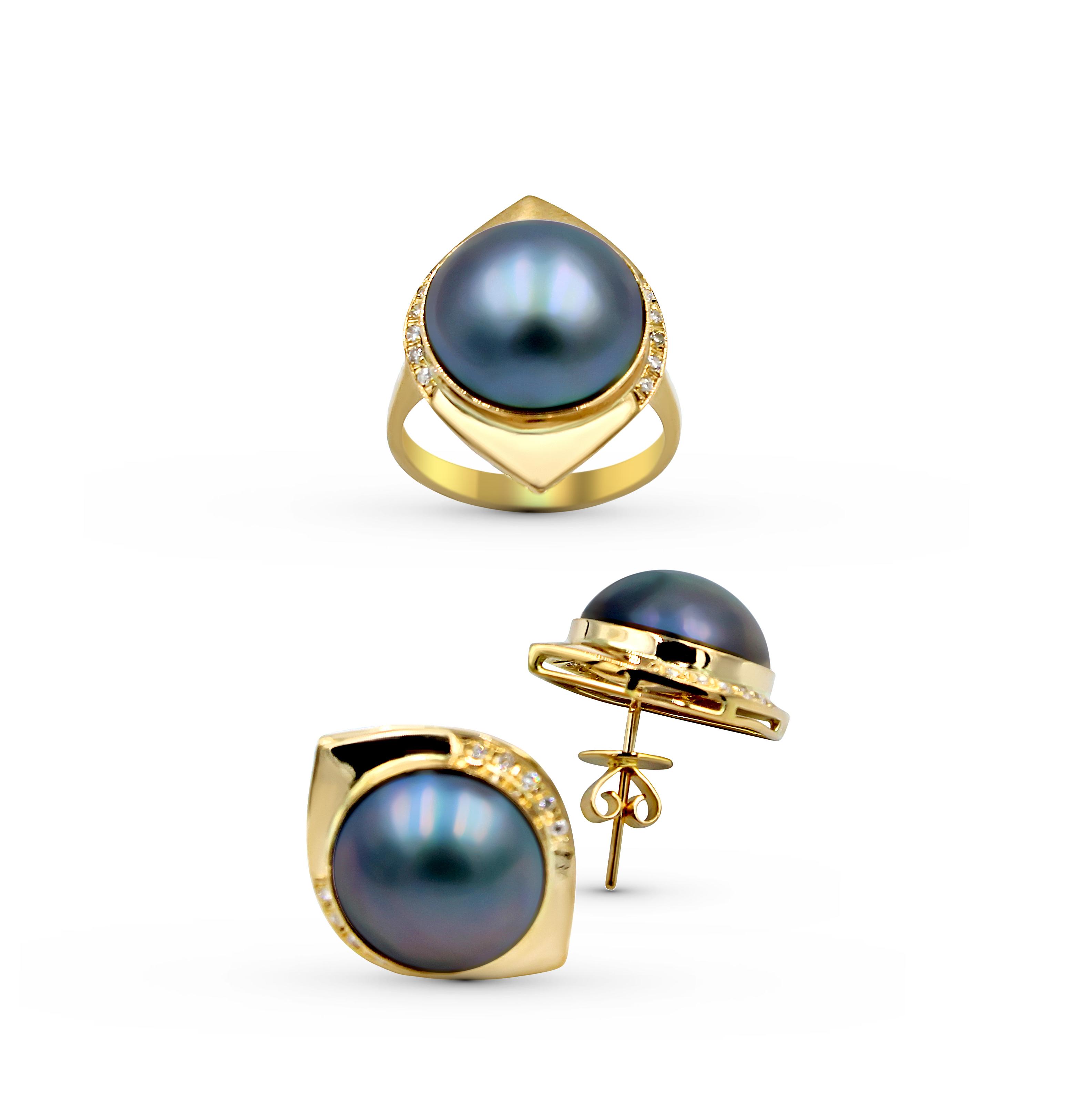 14k Yellow gold mabe diamond Pearl earrings