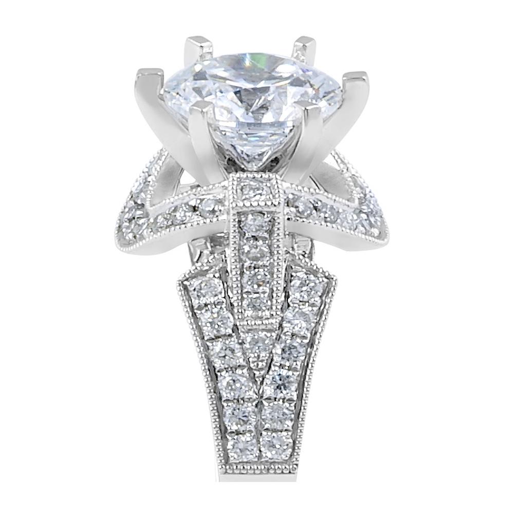 Halo Diamond Engagement Ring in 18 Karat White Gold - Engagement rings melbourne