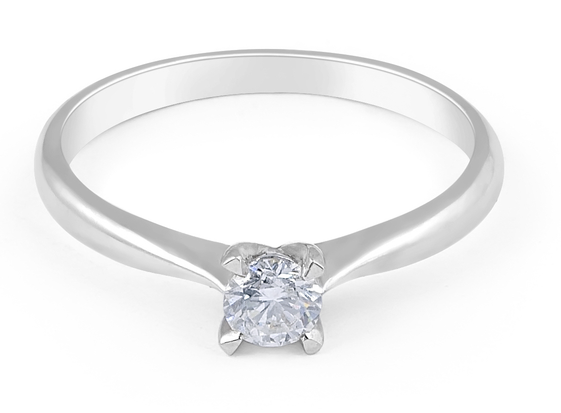 Solitaire Diamond Engagement Ring in 18 Karat White Gold - Wedding Rings