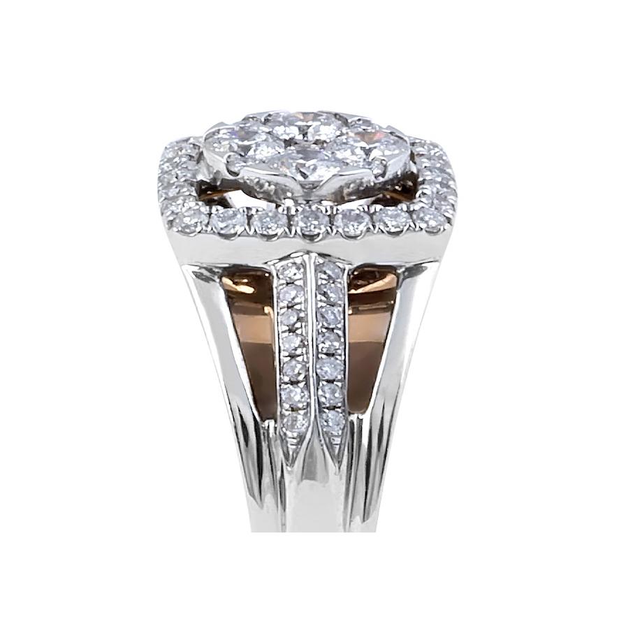 Two Tone Vintage Square Halo Diamond Ring Pave Setting