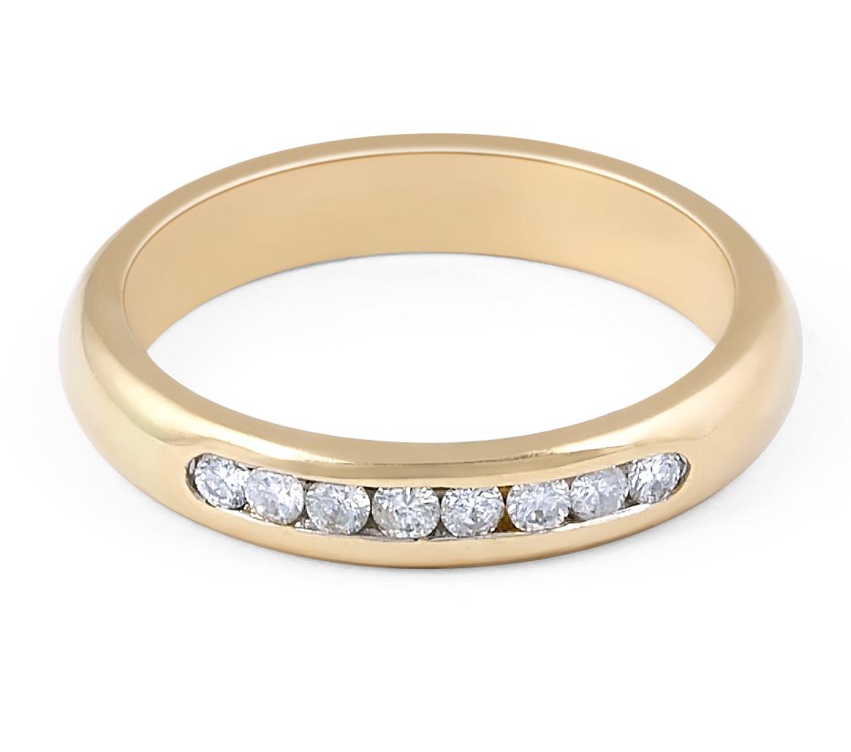 18 Karat Yellow Gold Modern Channel Setting diamond Wedding Band