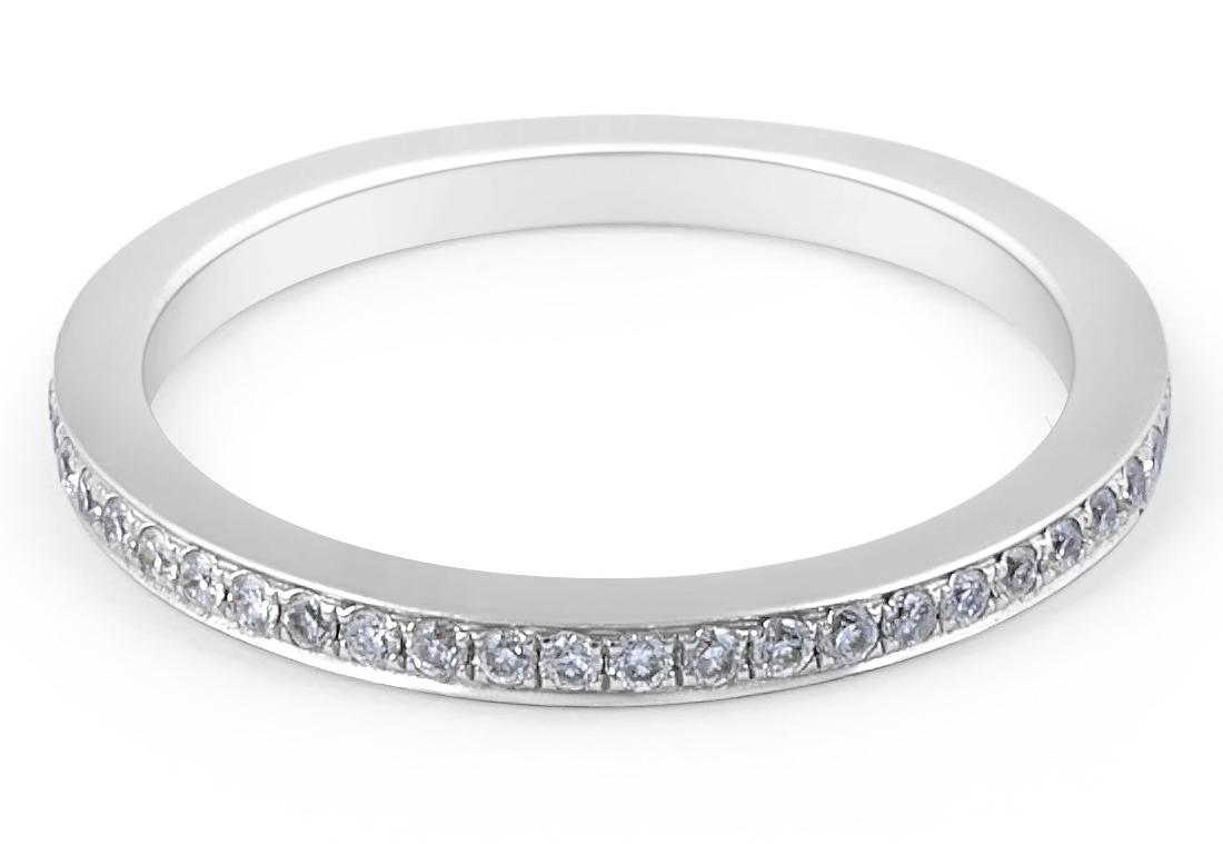 18 Karat White Gold Modern style channel set diamond wedding band  - womens wedding bands