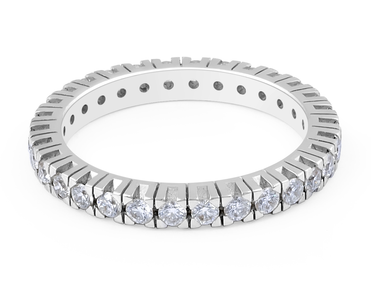 18 Karat White Gold Modern Eternity Design Diamond Wedding Band - womens wedding band