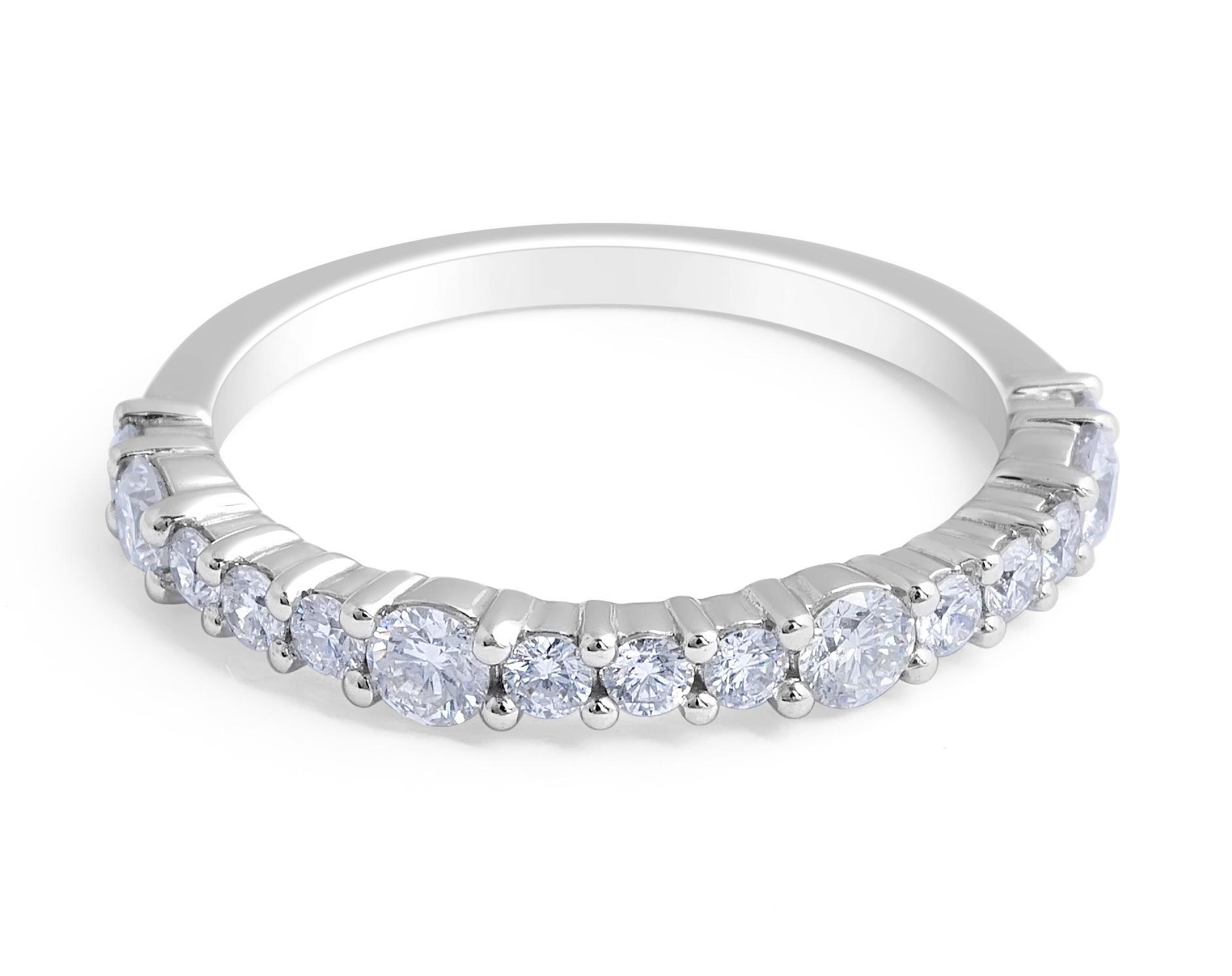 18 Karat White Gold Modern style Diamond Wedding Band - womens wedding bands