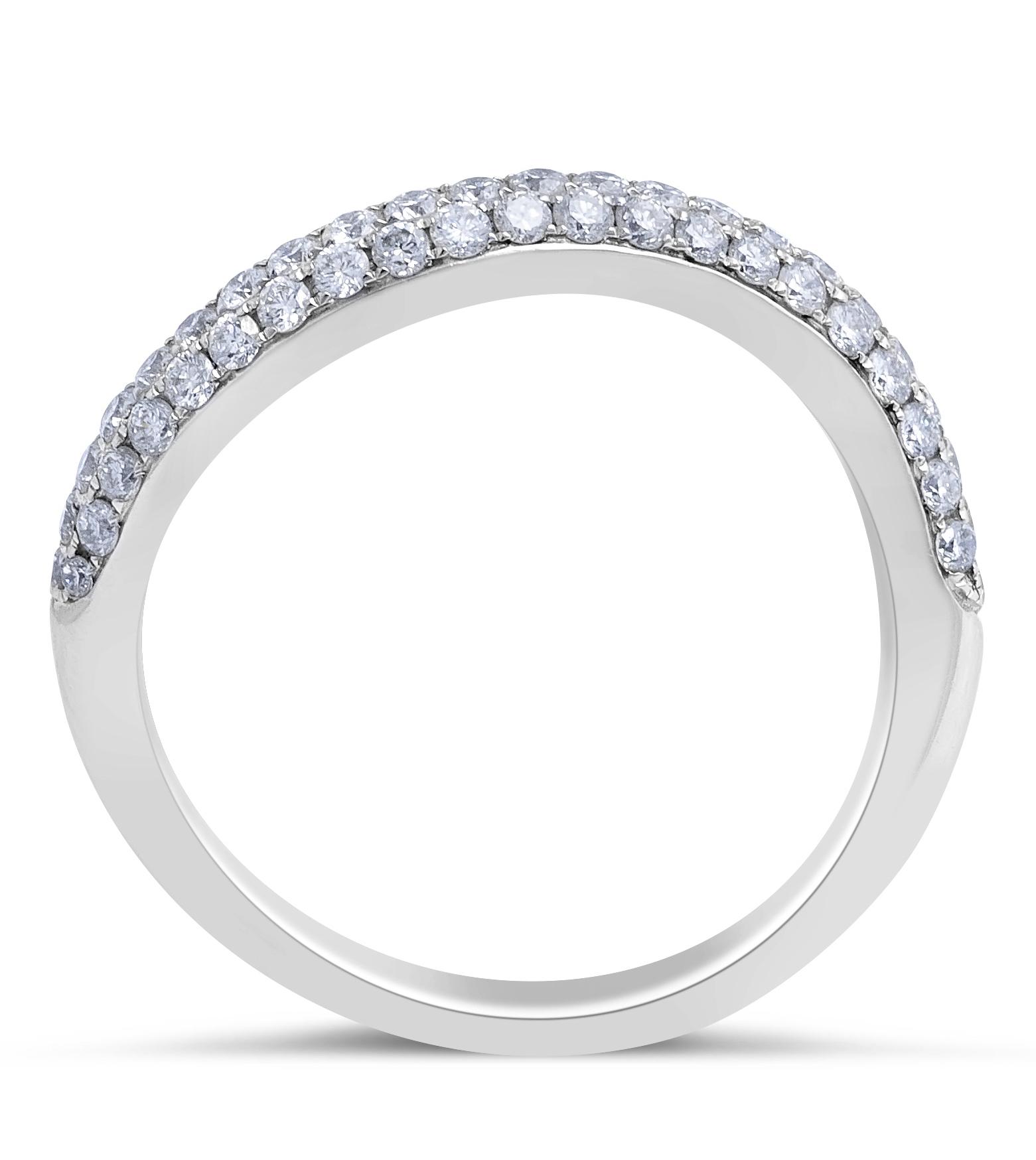 18 Karat White Gold Diamond Wedding Band in Micro Pave Setting