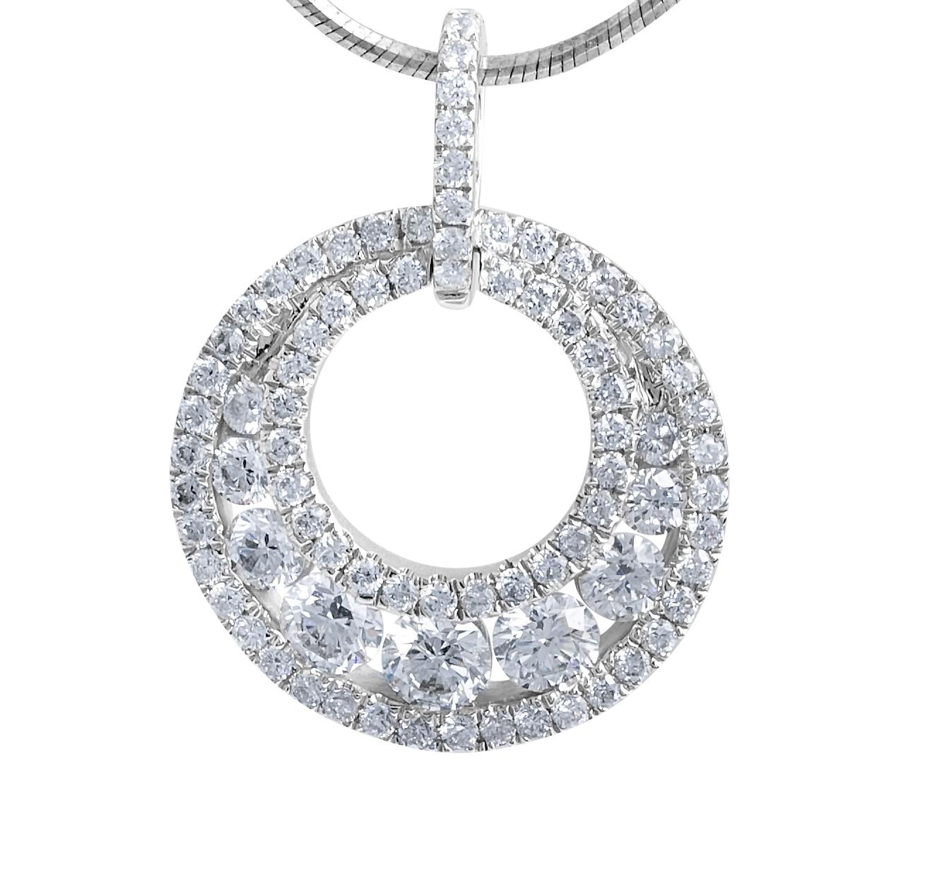18 Karat Modern Diamond Pendant