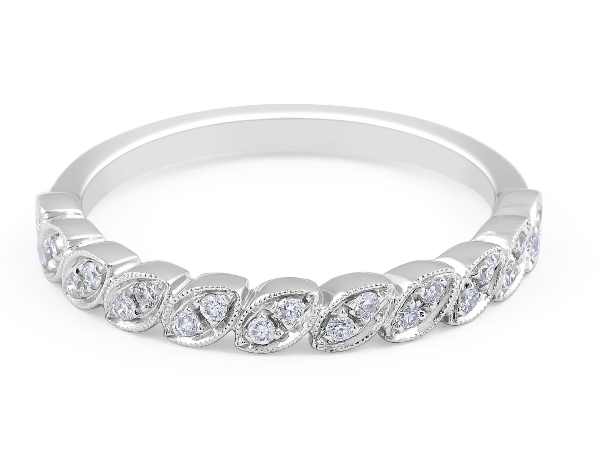 18 Karat White Gold Vintage Diamond Wedding Band - womens wedding band