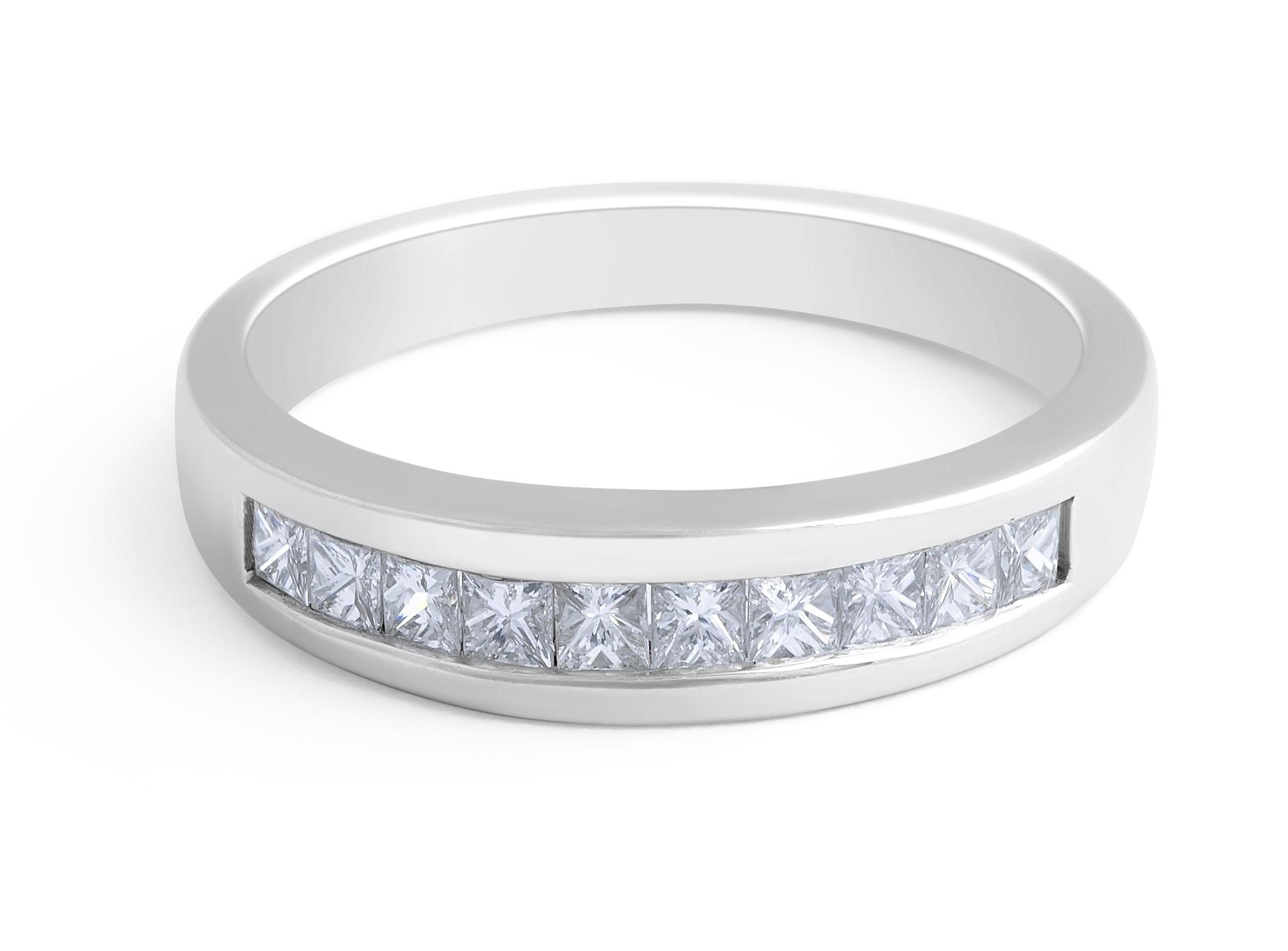 18 Karat White Gold Diamond Wedding Band - womens wedding band