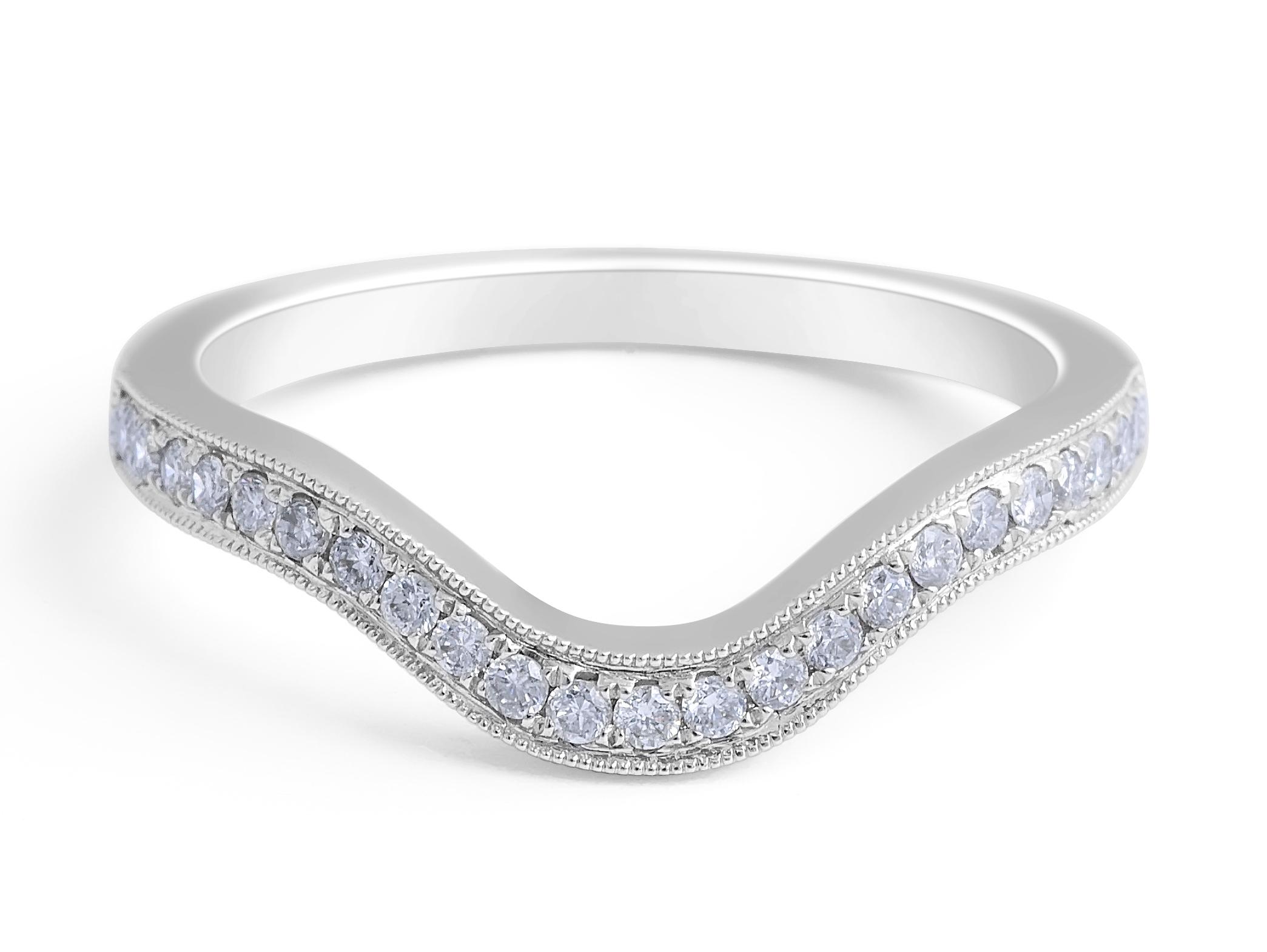 18 Karat White Gold Vintage Style Concave Diamond Wedding Band