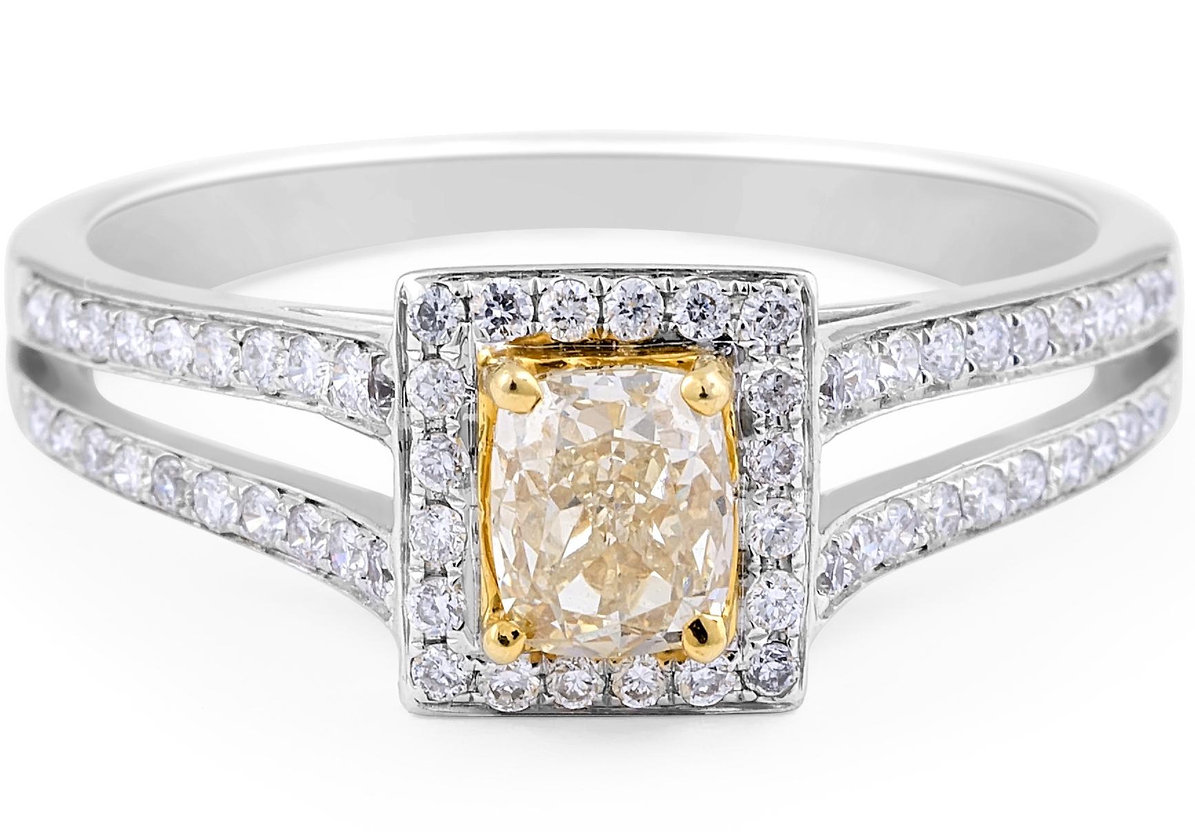 Fancy Yellow Diamond Ring in 18 Karat White Gold Gemstone rings