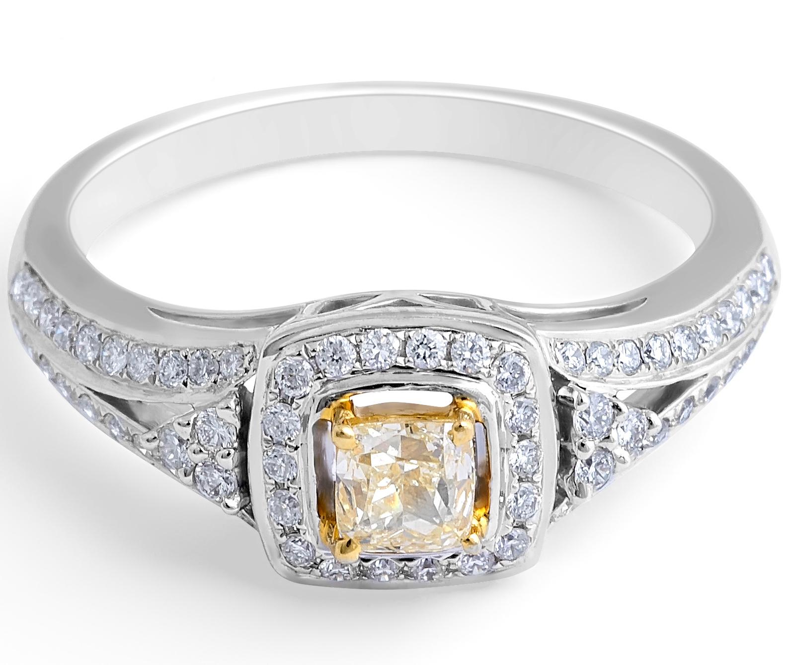 Fancy Yellow Cushion Diamond Halo Ring in 18 Karat Gemstone rings
