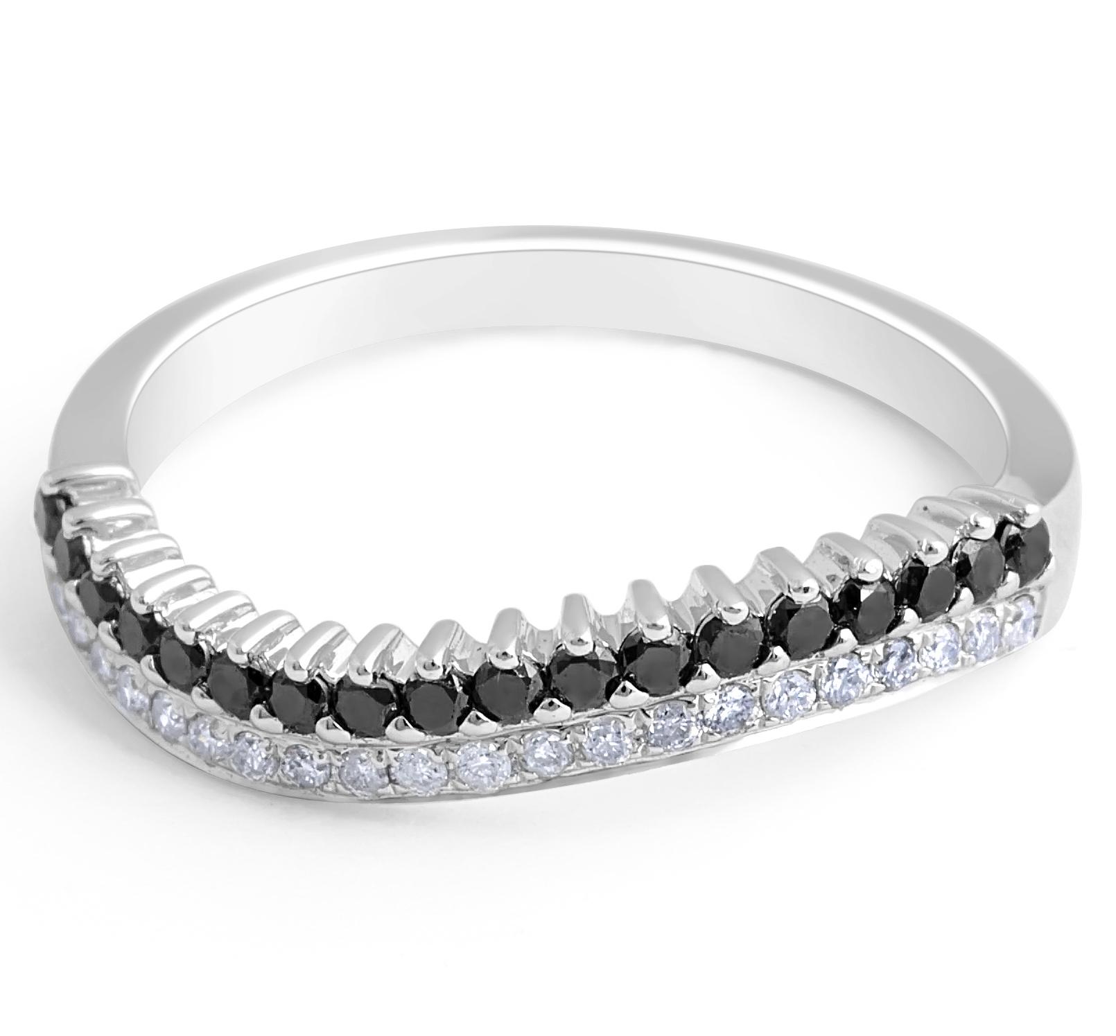 BLACK AND WHITE DIAMOND WEDDING BAND IN 18 KARAT WHITE GOLD