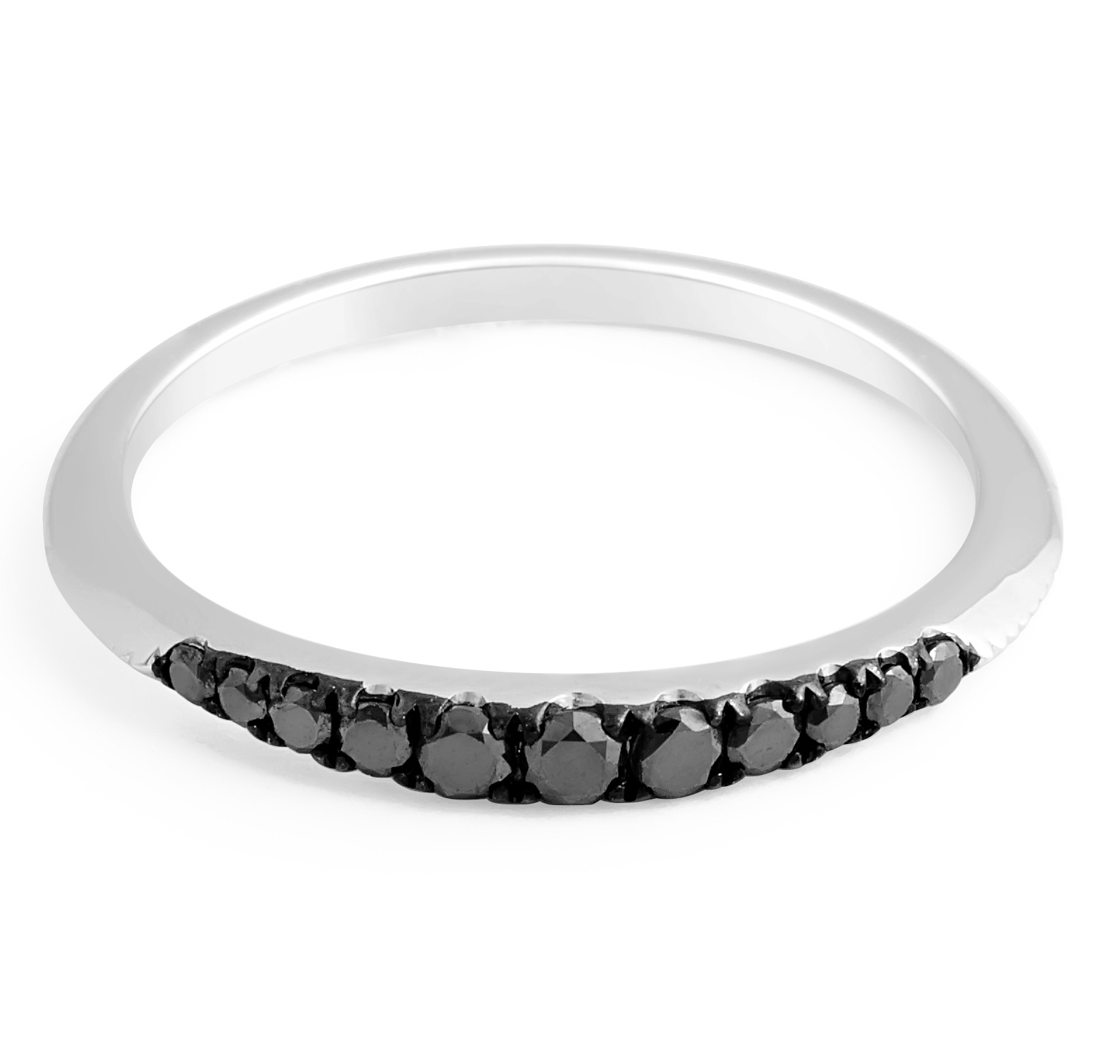 Black Diamond Wedding band in 18 karat White Gold