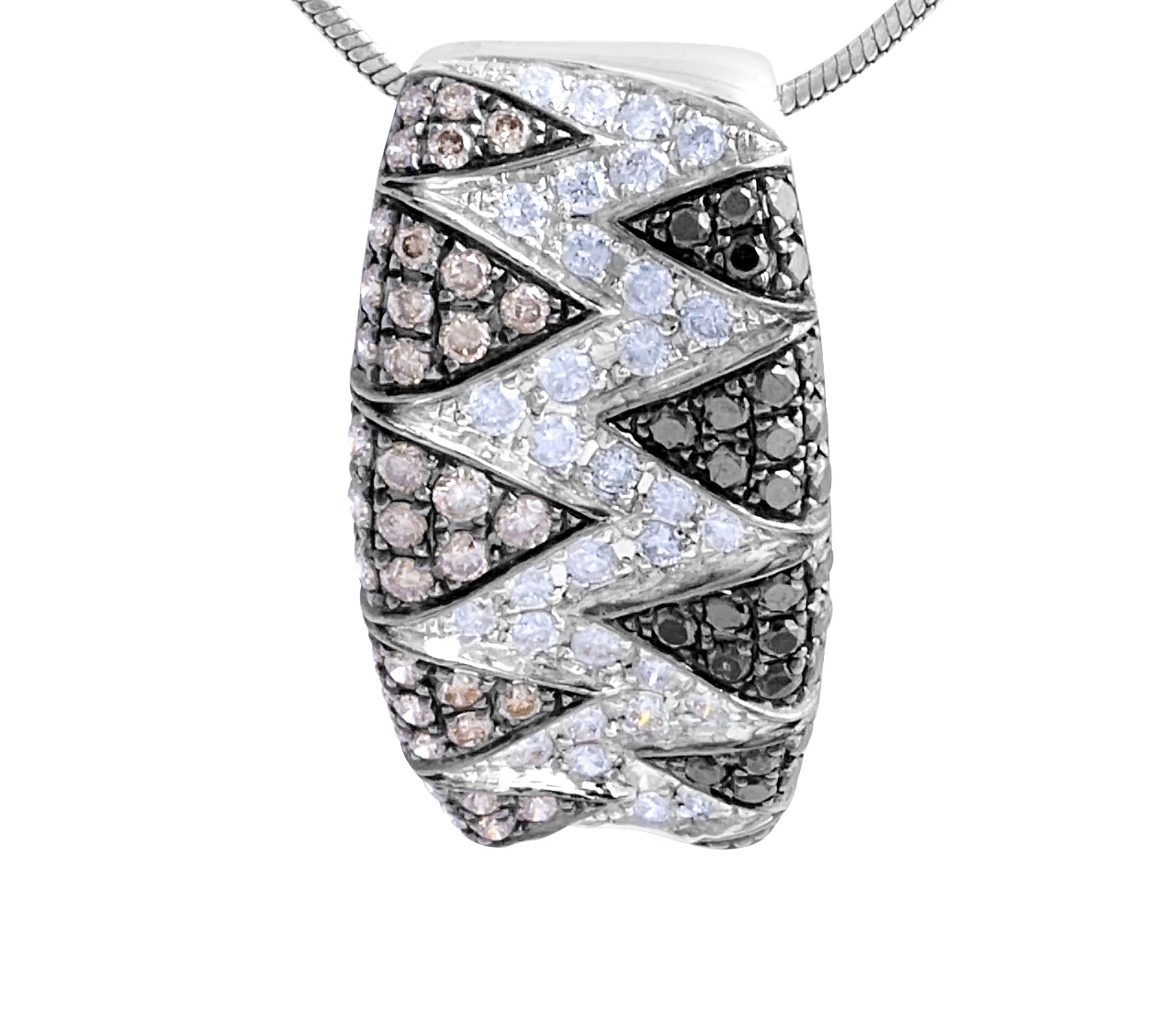 Multi colour Diamond Pendent in 14 Karat White Gold