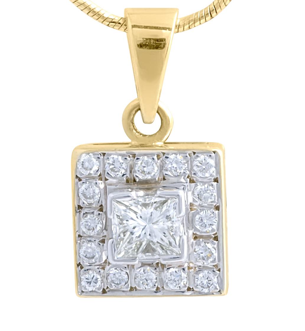 18 Karat Yellow Gold diamond Square Pendant