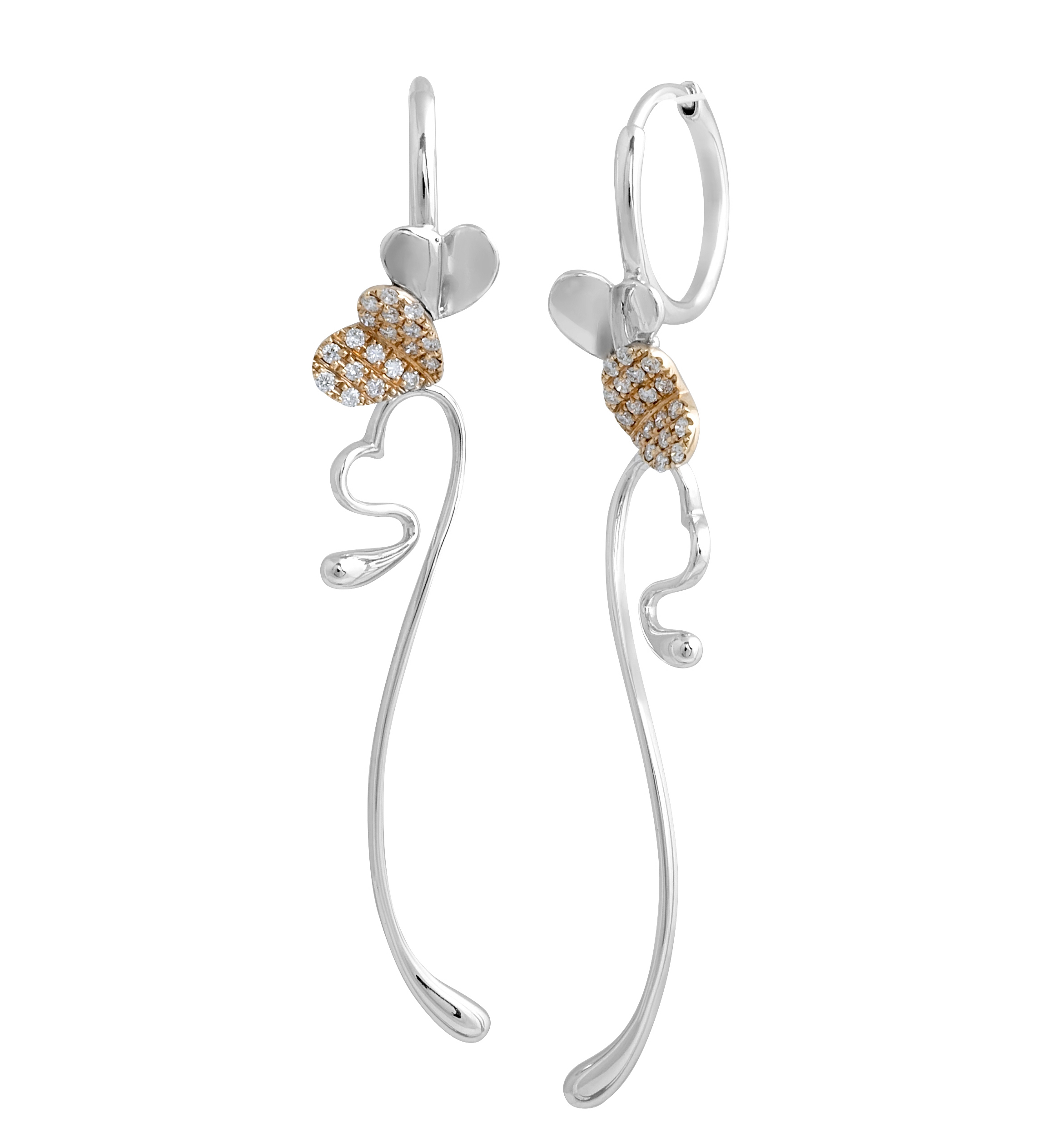 Two Tone 18 Karat Hanging Diamond Earrings rose gold