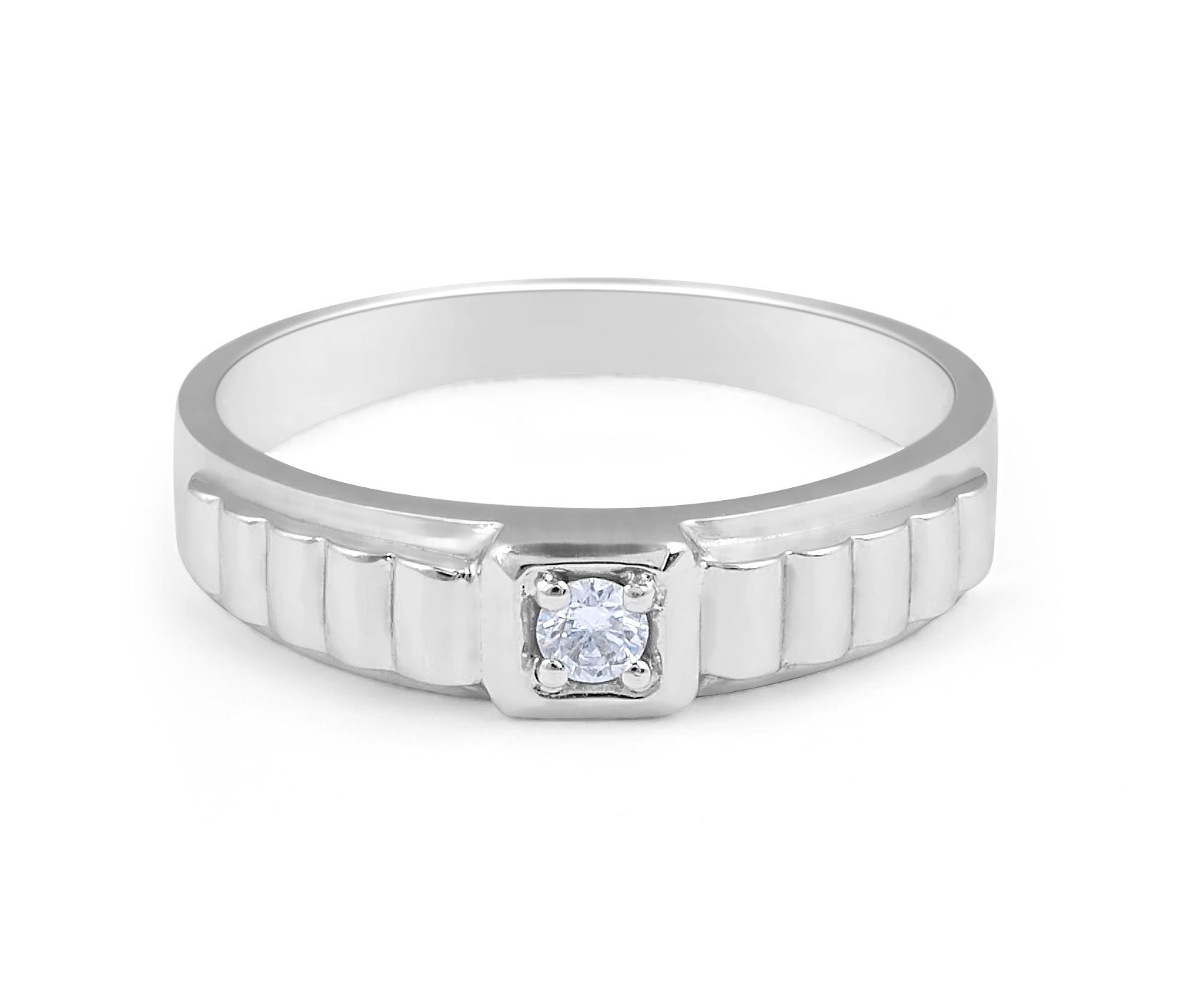 18 Karat White Gold solitaire, grid band, gents diamond wedding band