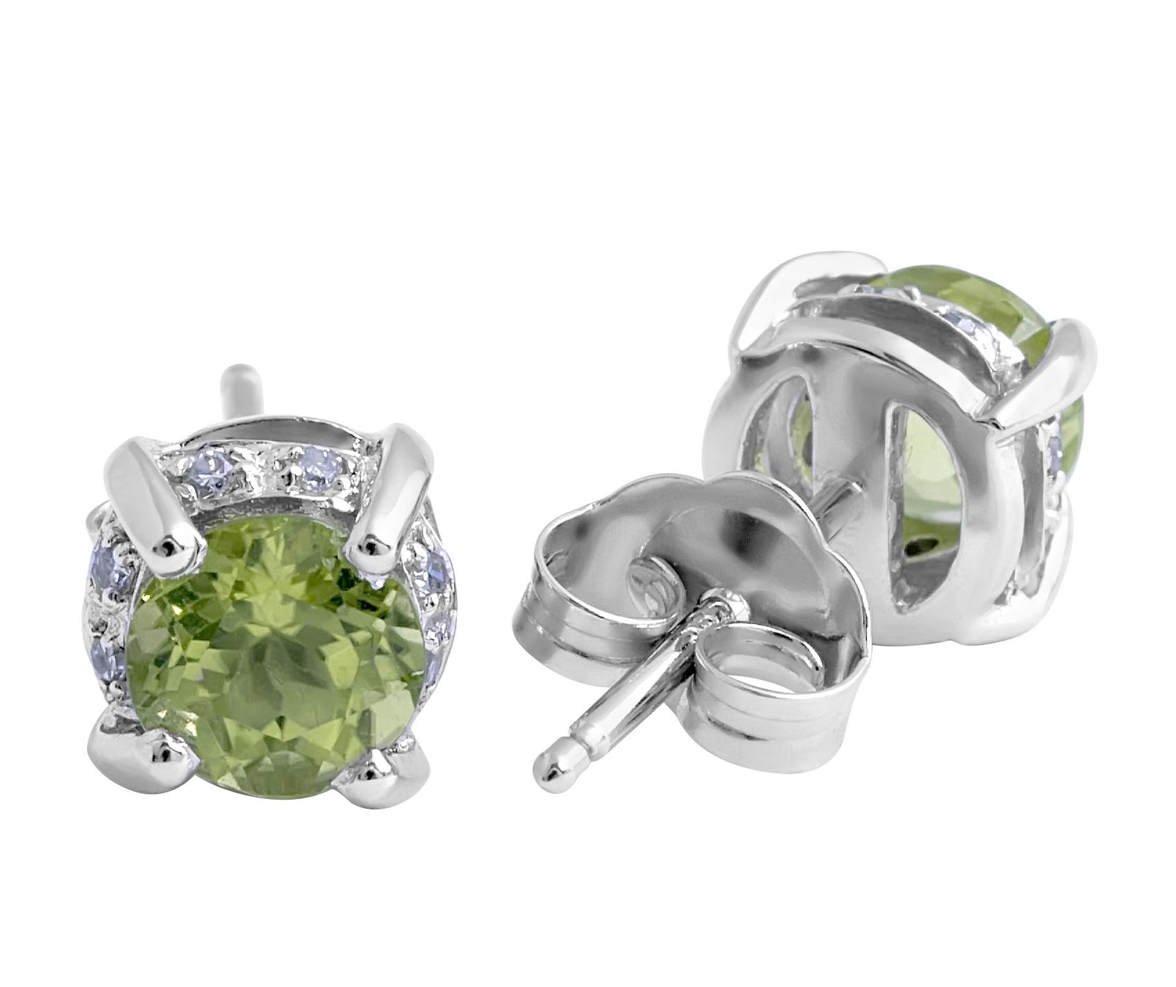Peridot and Micro-pave Diamond Stud Earrings