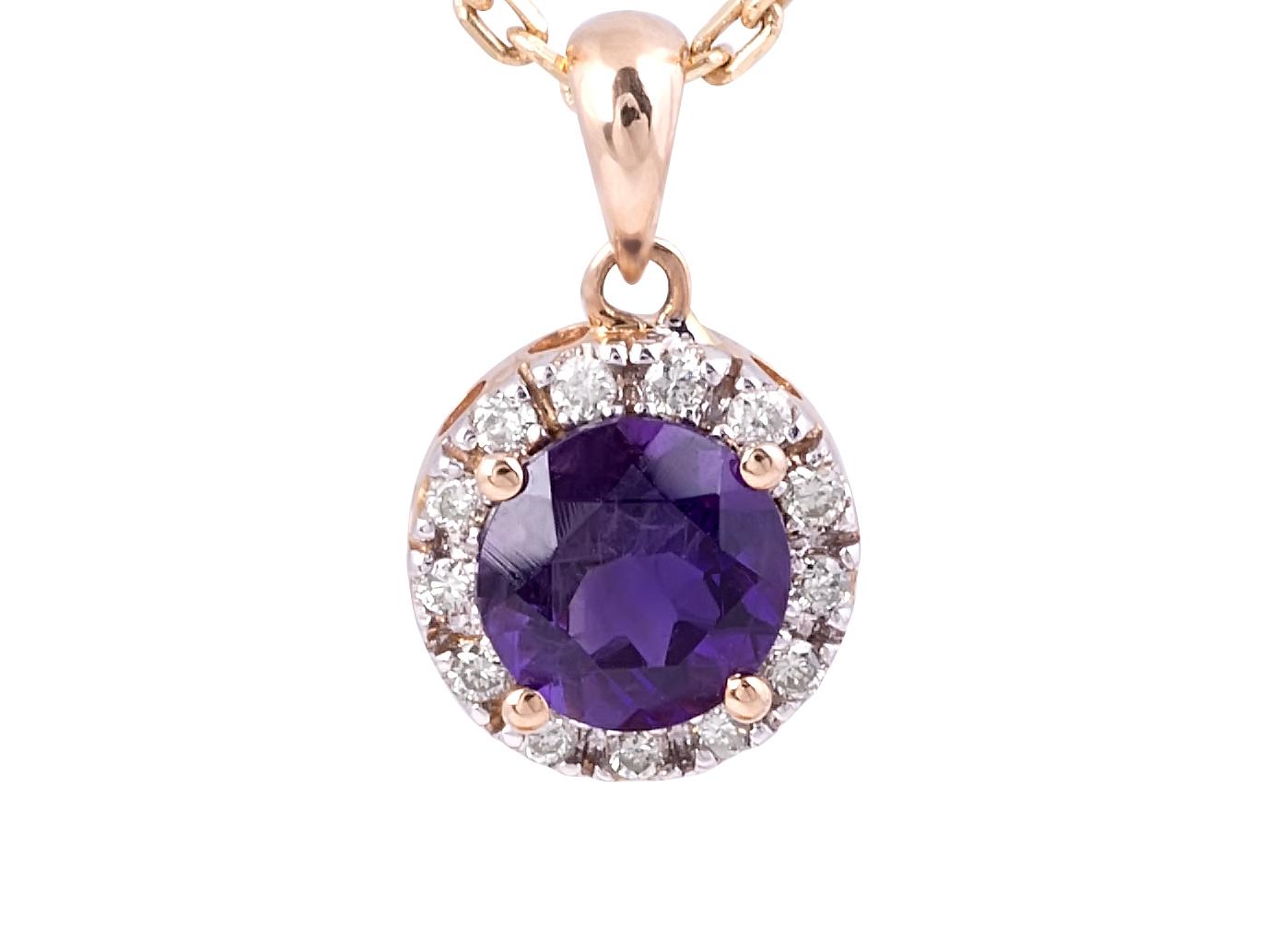 Amethyst and Diamond Halo Pendant in 18 Karat Rose Gold