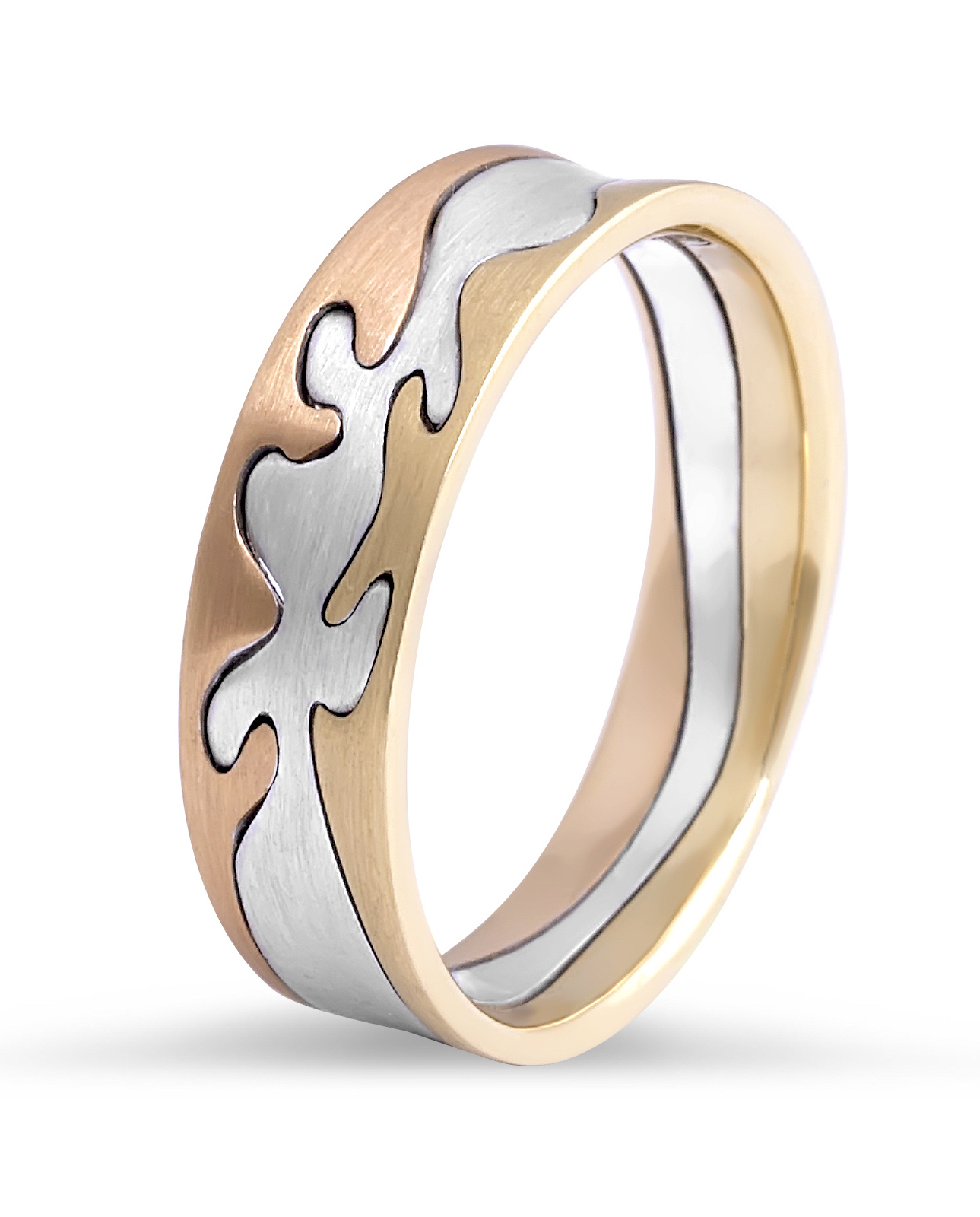 18k white and rose gold wedding rings