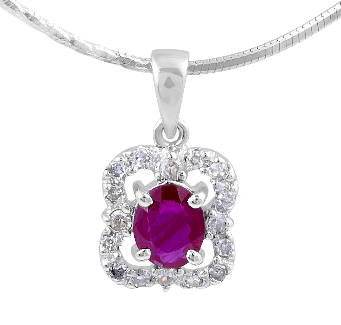 Ruby Diamond Pendant in 14 Karat White Gold Pave Setting Gemstone