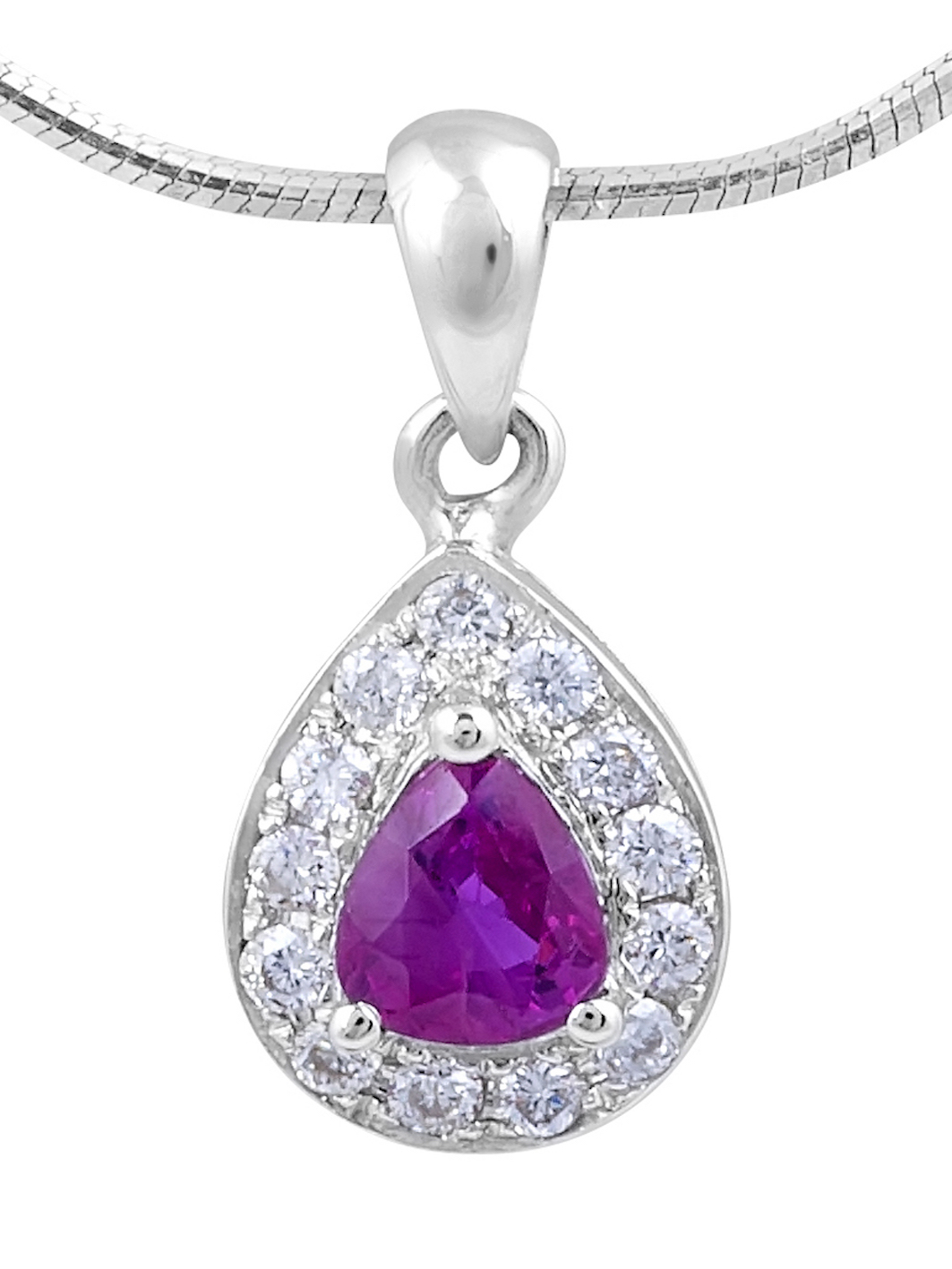 Ruby Diamond Halo Pendent in 18 Karat White Gold (