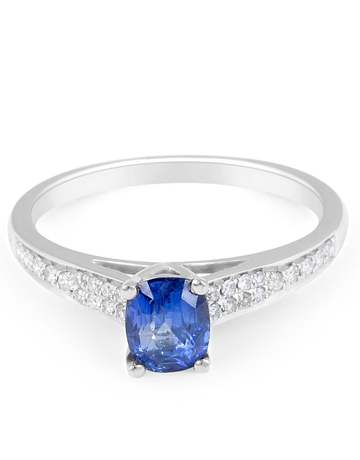Blue Sapphire Diamond Engagement Ring in 18 Karat White Gold