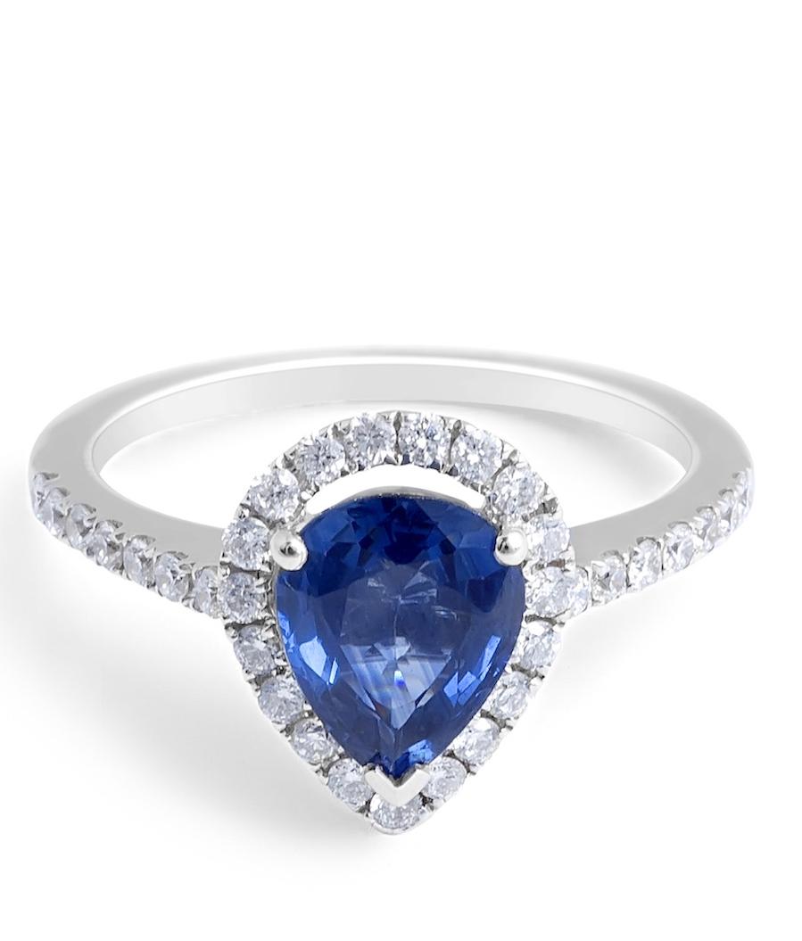 Blue Sapphire Diamond Engagement Ring in 18 Karat White Gold - Gemstone rings