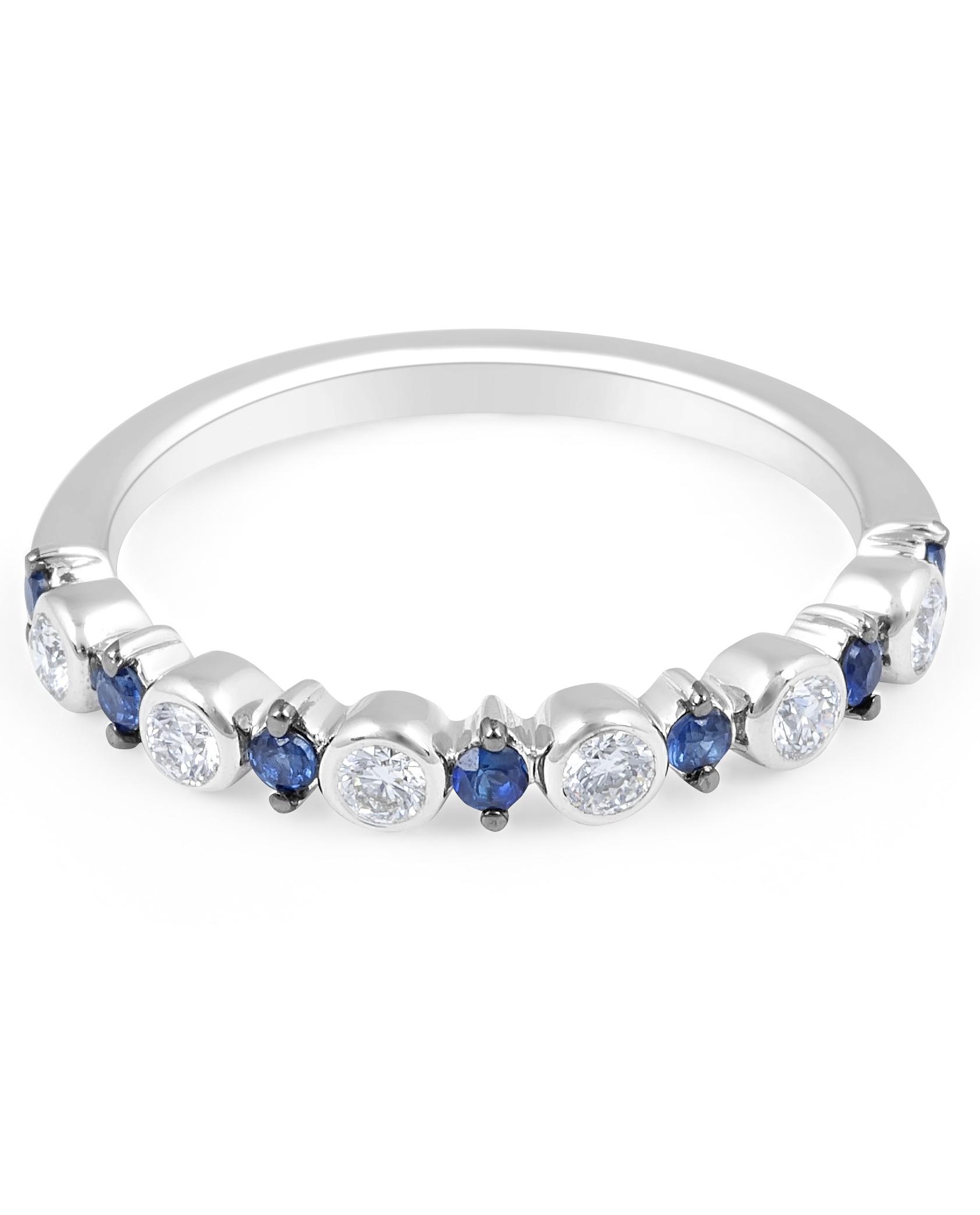 Sapphire Diamond Band in 18 Karat White Gold - mens wedding band