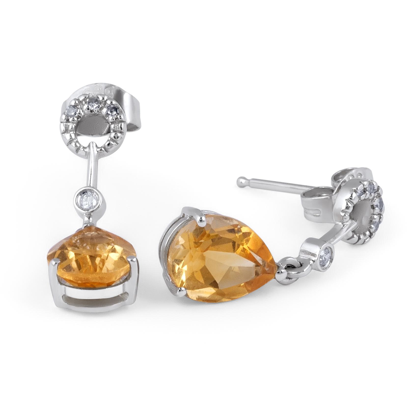 Citrine and Diamond Earring in 14 Karat Yellow gold