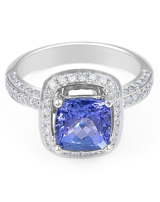 Vintage Style Tanzanite Halo Diamond Ring in 18 Karat White Gold