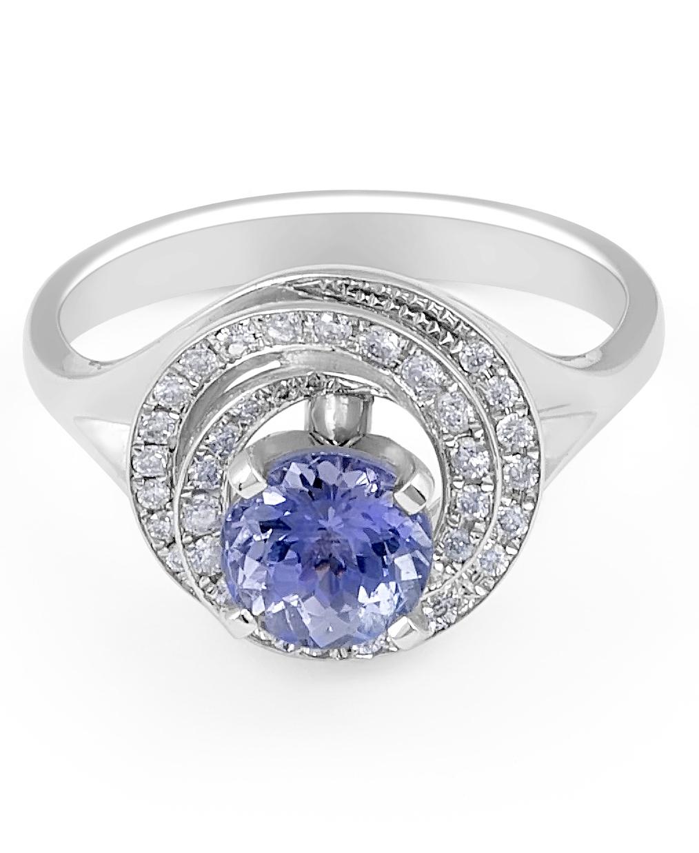 Halo Tanzanite Diamond Ring in 18 Karat Melbourne engagement rings